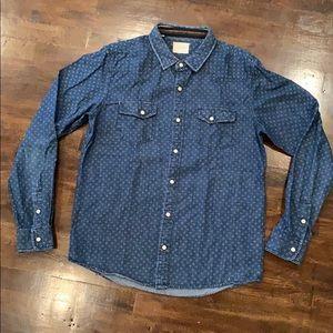 Jachs Dot Print Snap Front Shirt Multi Knit Trim